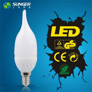 Sunger good quality C37L 4W E14/E27 led bulb CE and Rohs certified