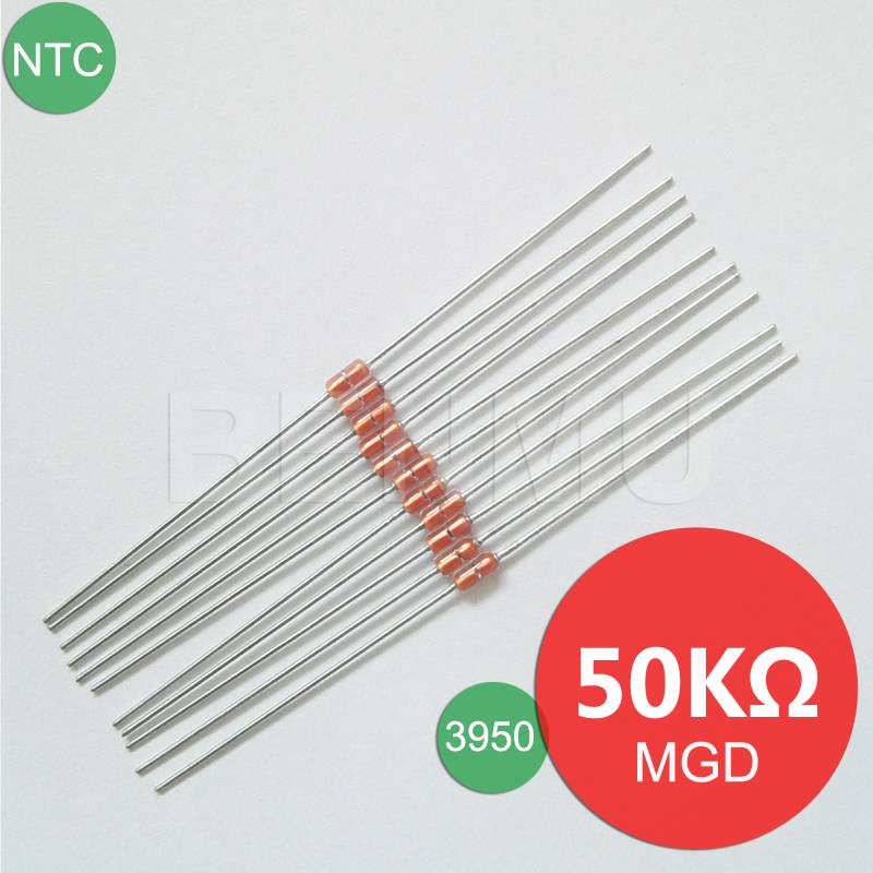 MGD18 50K 1% 3950 UL Glass NTC Thermal Variable resistor+thermistor of temperature sensor in solar w