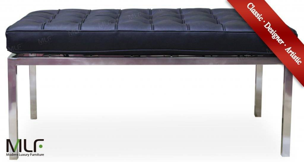 Imported Black Italian Leather Florence Knoll 2 Seat Bench