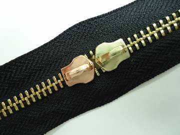 5#Golden brass zipper with two slider