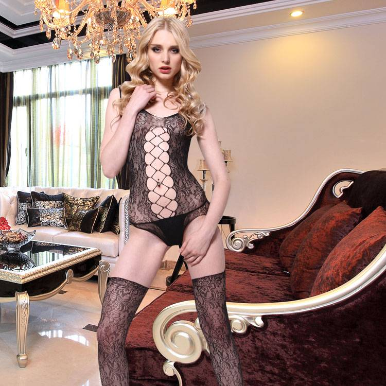 Sexy Lingerie Floral Cutout Bodystocking Fishnet Bikini Garment with Suspender Stocking