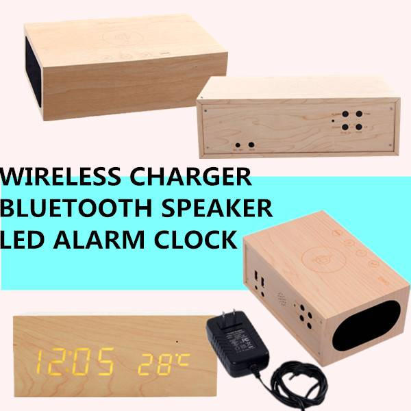 Creative NEW Bluetooth Speaker MDF Wood LED Clock