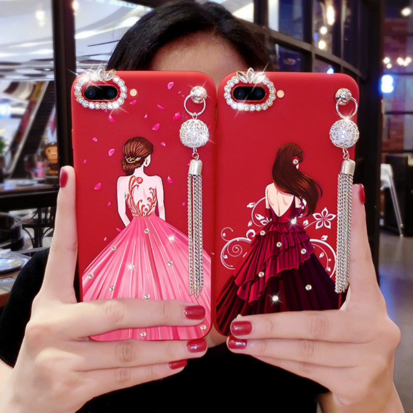 Fashionable Red Girl Silicon Soft Cover for iPhone X/8/7/6s Plus with Pendant Cell Phone Accessories