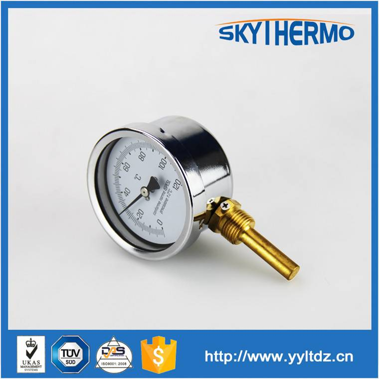 bottom connection SS 304 long probe chemical celsius outdoor thermoemter