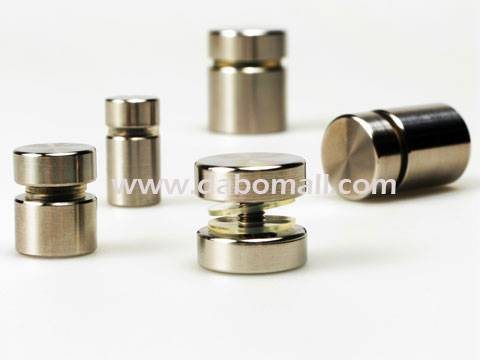 Stainless standoffs for interior design applications, pop displays.