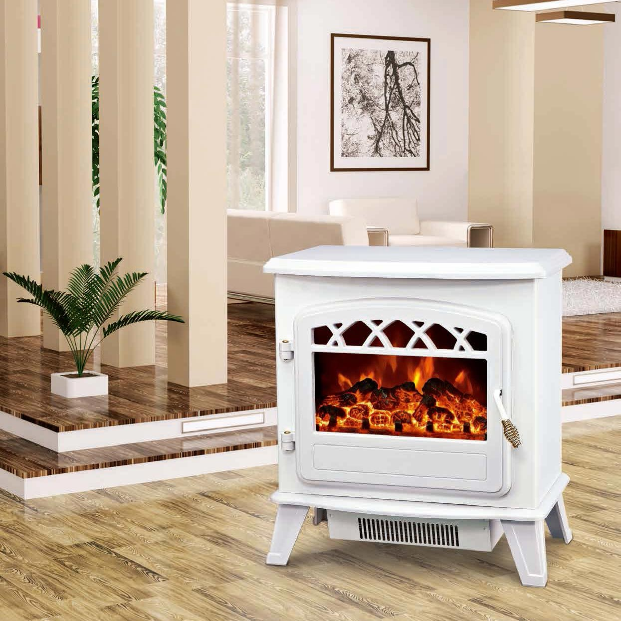 electric fireplace heater log burning flame effect antique electric stove ND-181ML cheap room heater