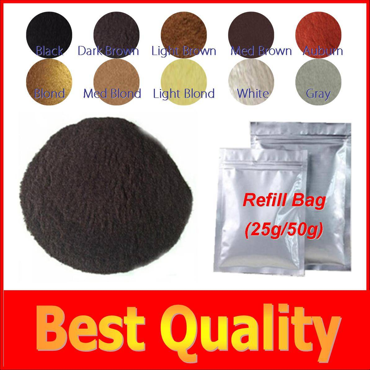 Refillable refill hair fibers for private label hair building fibers supplement