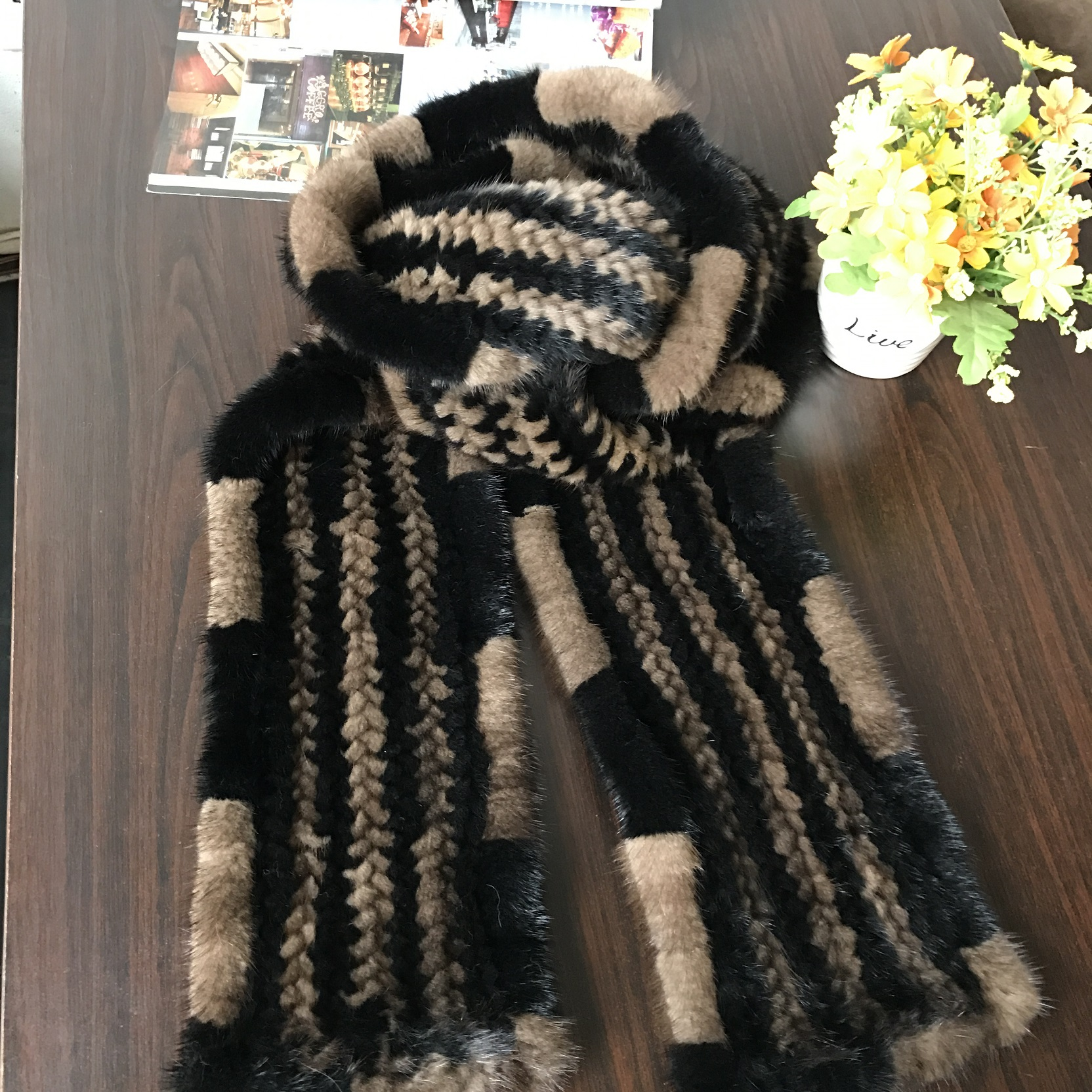 Fur scarf knitted by quality European mink fur model MFS02