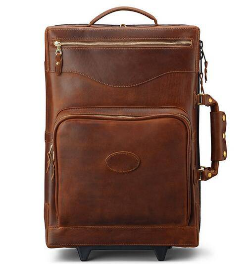 Carry on genuine leather trolley bag luggage/leather trolley bag/genuine leather luggage/carry on le