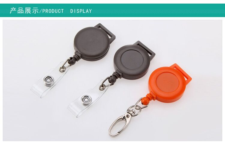 retractable pull reel badge key chain badge holder with back clip