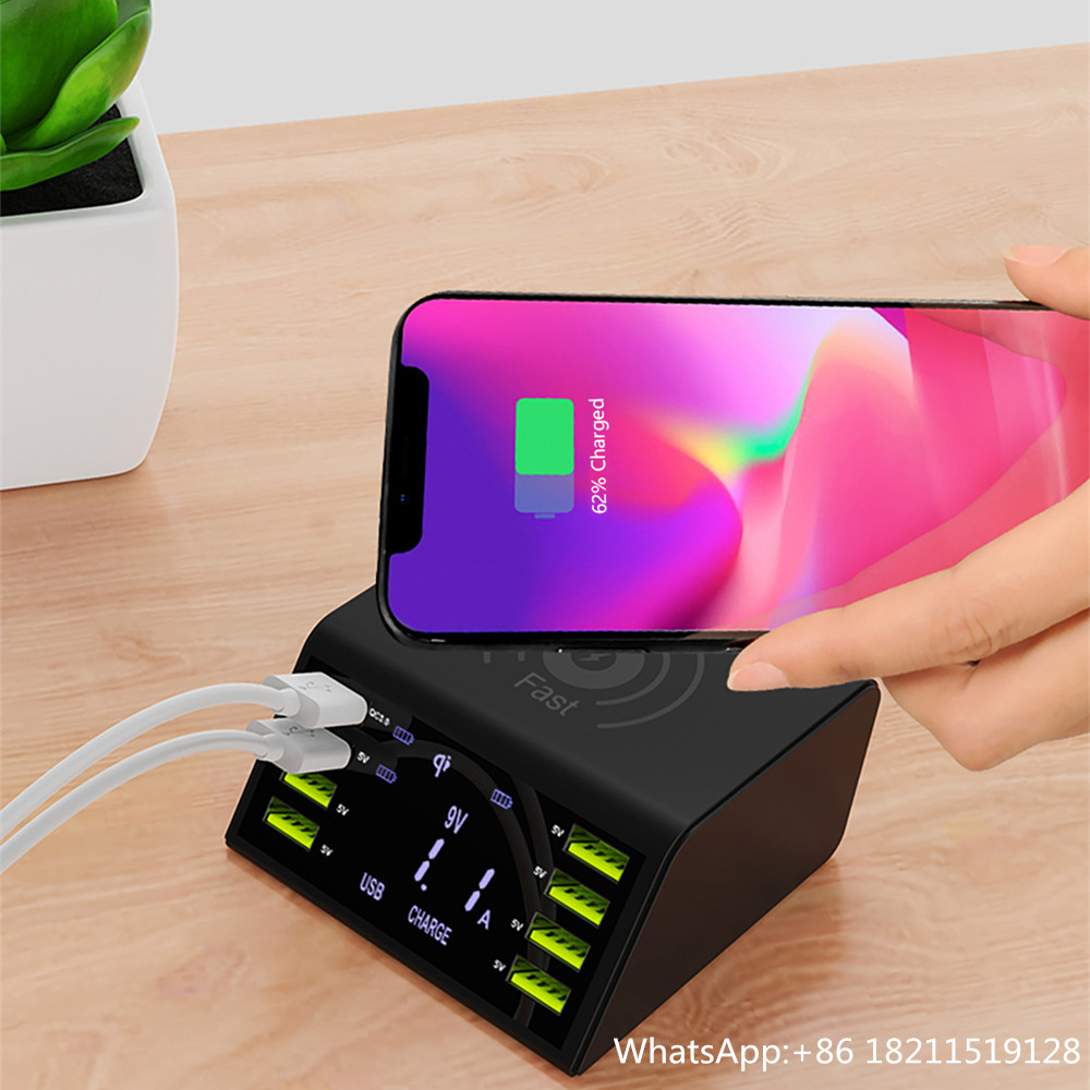 Desktop QC3.0 8 Ports Multi Usb Charger Support Qi Wireless Charging For Mobile Phone