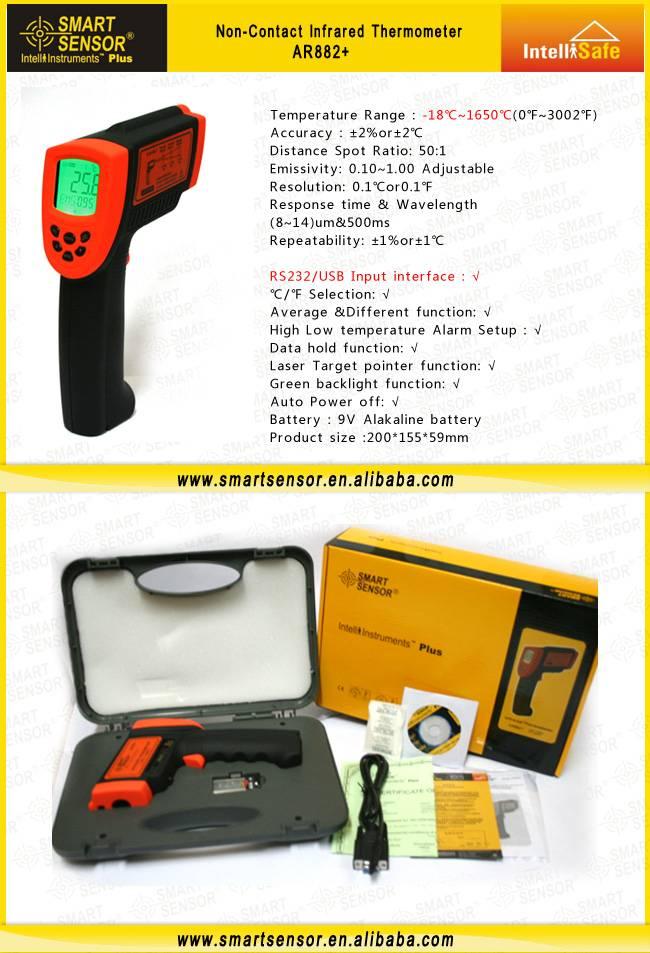 Smart Sensor IR Thermometer AR882+ With USB