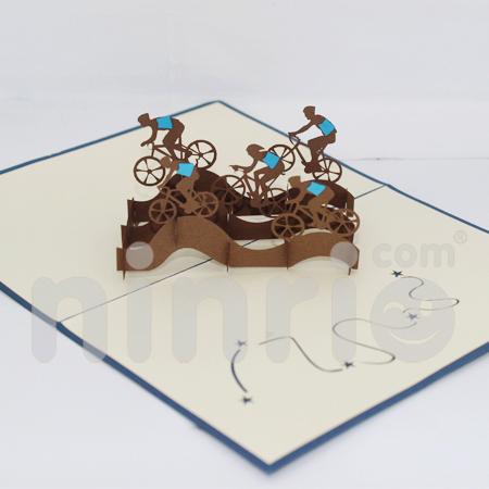Cyclist team Pop Up Card Handmade Greeting Card