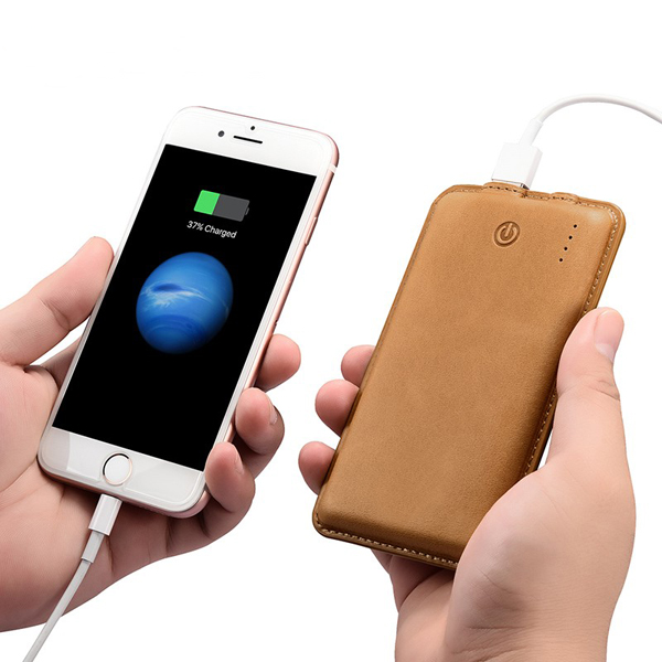 Genuine leather power bank 10000mah portable mobile charger