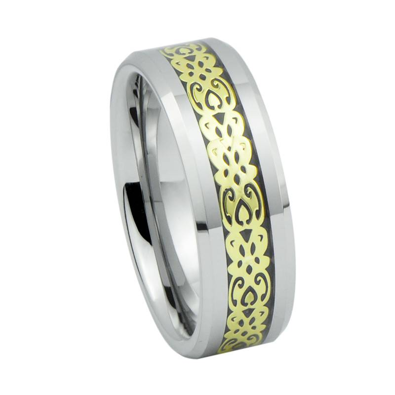 Vogue Jewelry Wedding Ring, Gold Pattern Inlay Tungsten Carbide Celtic Wedding Rings