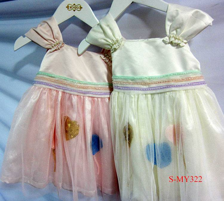 Beautiful mesh printed heart pattern baby party dresses for children
