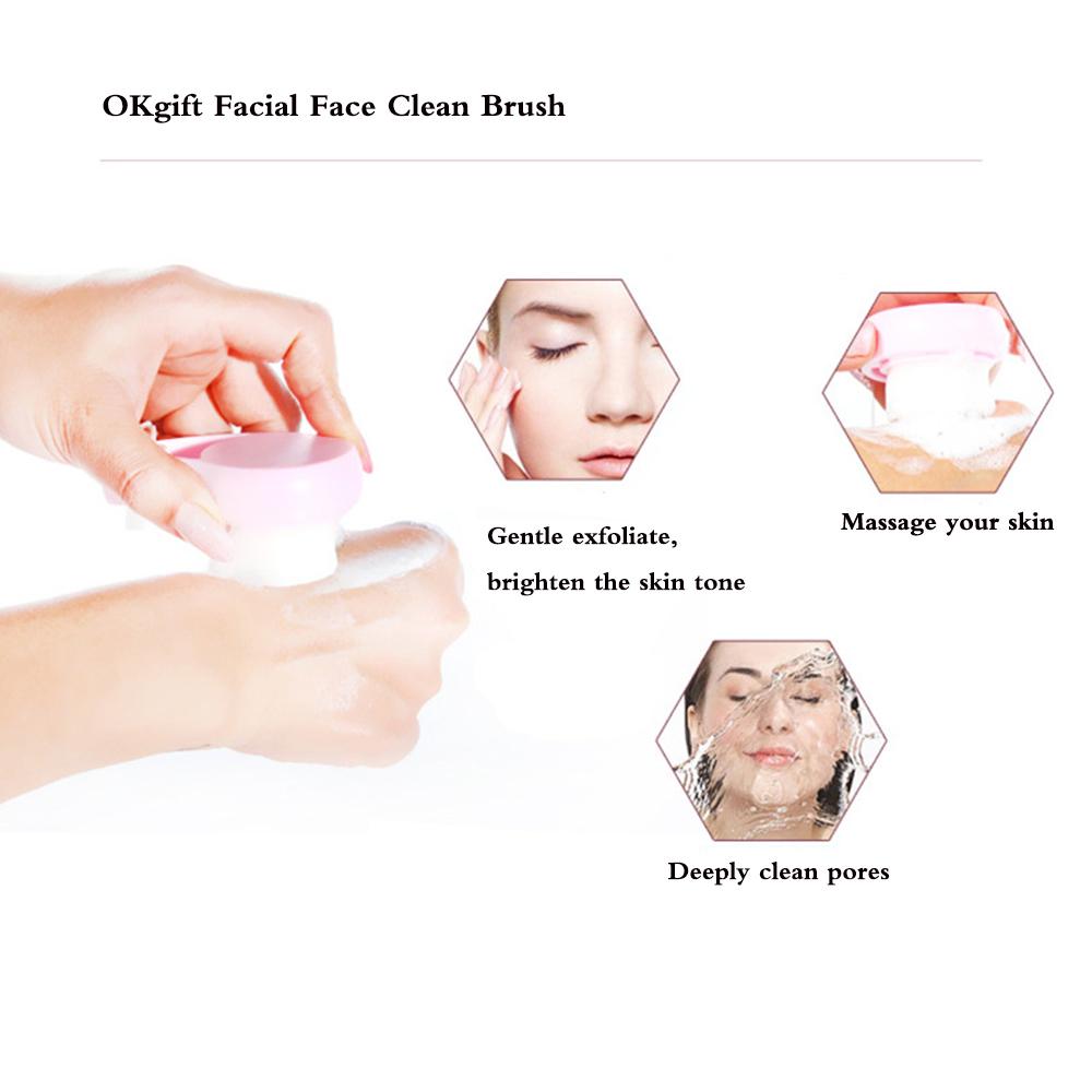 Ultrasoft Fiber Facial Skin Pore Deep Cleansing Spa Wash Massage Exfoliation Brush Head (Pink