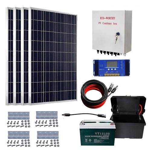 ECO-WORTHY 400W off Grid Solar Kit: 4pcs 100W Solar Panels & Combiner Box & 60A Solar Controller &10