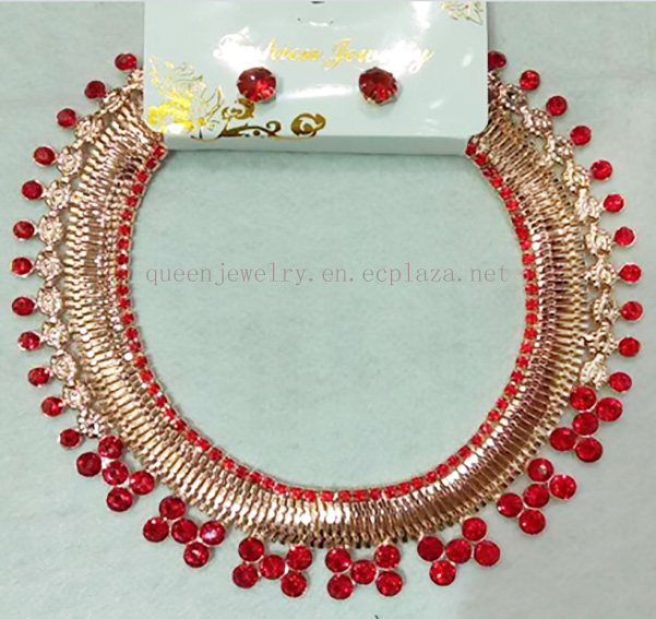 Customized necklace 2017 High-Quality Gold Plated Necklace Red Rhinestone elegant earring