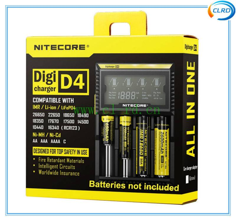 Original NiteCore d4 Intellicharger I2/I4/D4 Battery Charger For Li-ion /Ni-MH Batteries