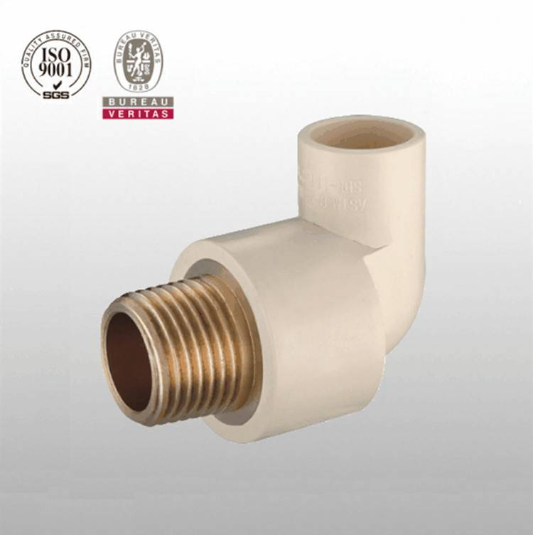 HJ brand CPVC ASTM D2846 pipe fitting male elbow with brass
