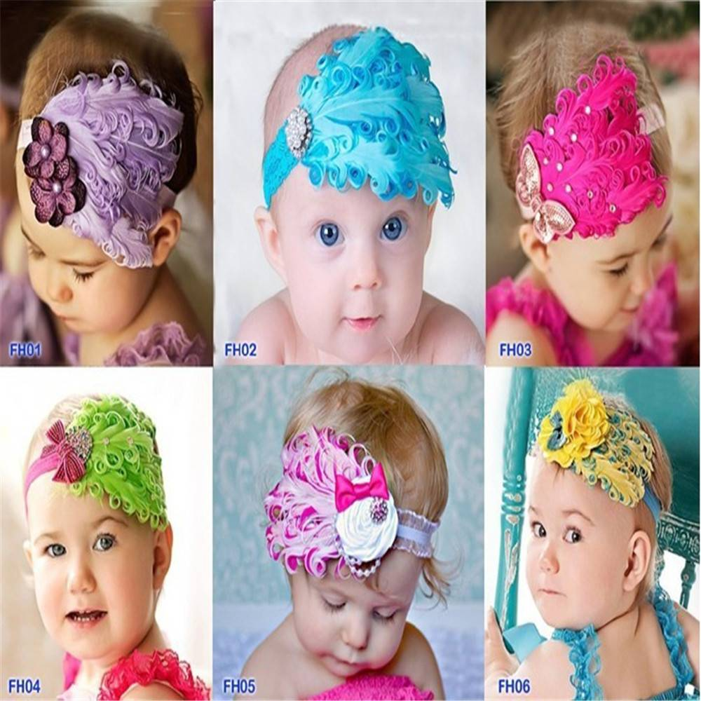 Europe and the United States children's jewelry baby feather hairband flower baby hair accessories
