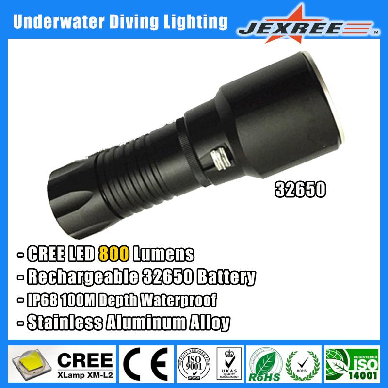 JEXREE 32650 Aluminum Alloy High Bright XPL Led Professional Diving Flashlight