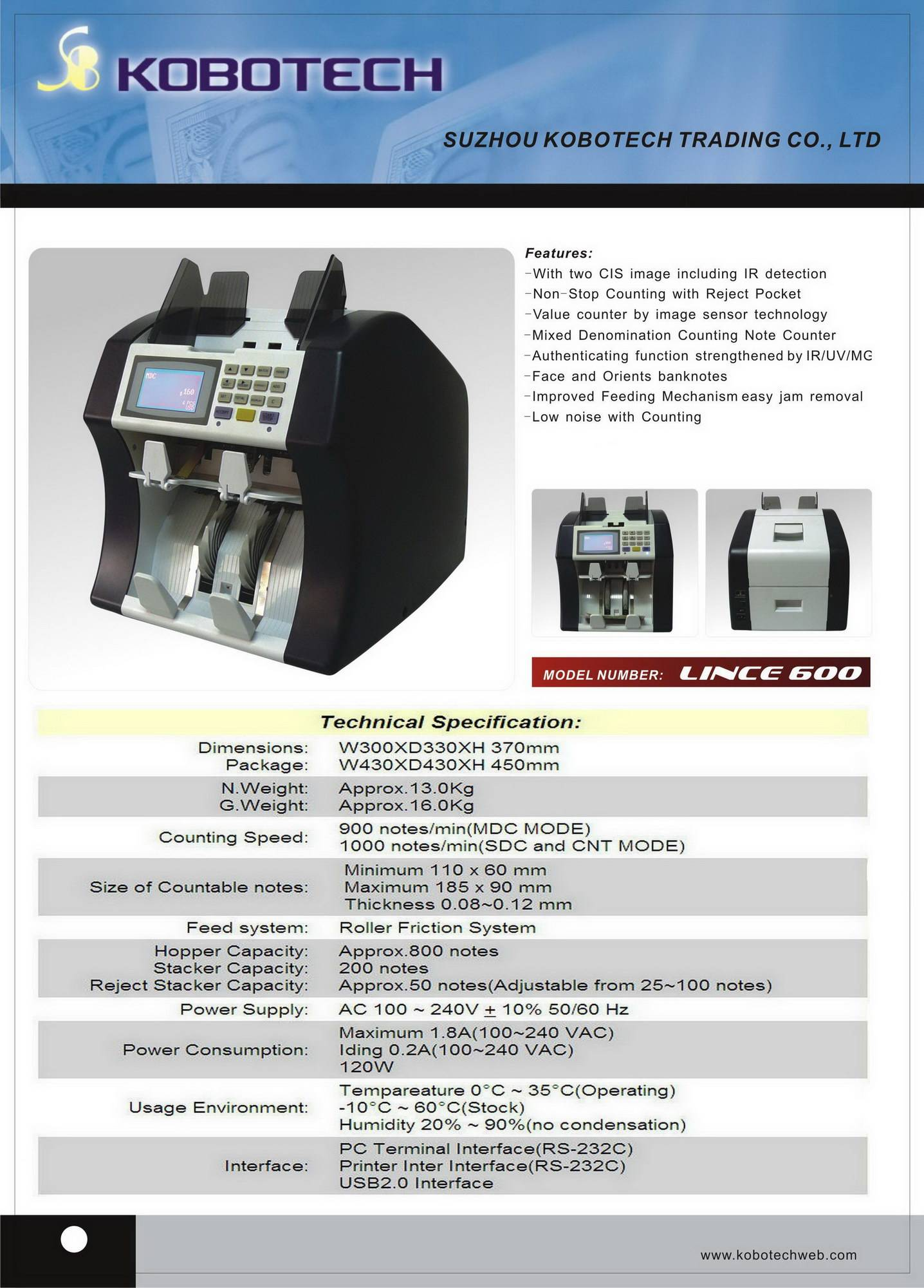 KOBOTECH LINCE-600 two pockets non-stop mix-value counter (ECB 100%)