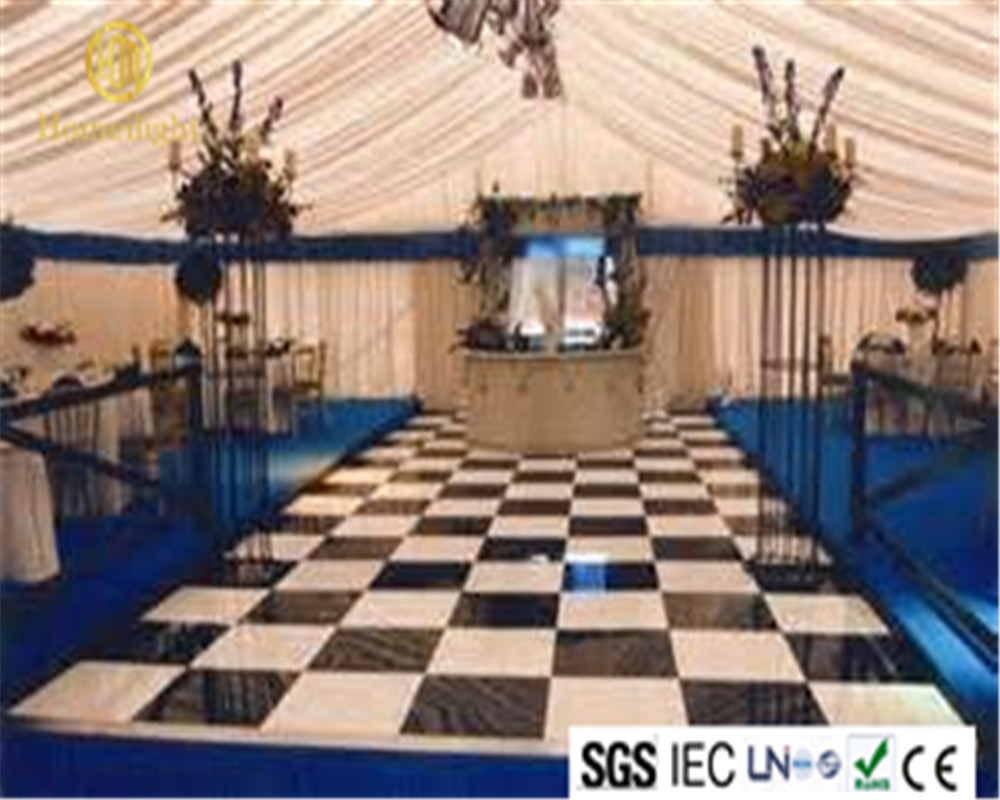 Homeilight 20x20ft balck and white acrylic dance tile wedding led dance floor