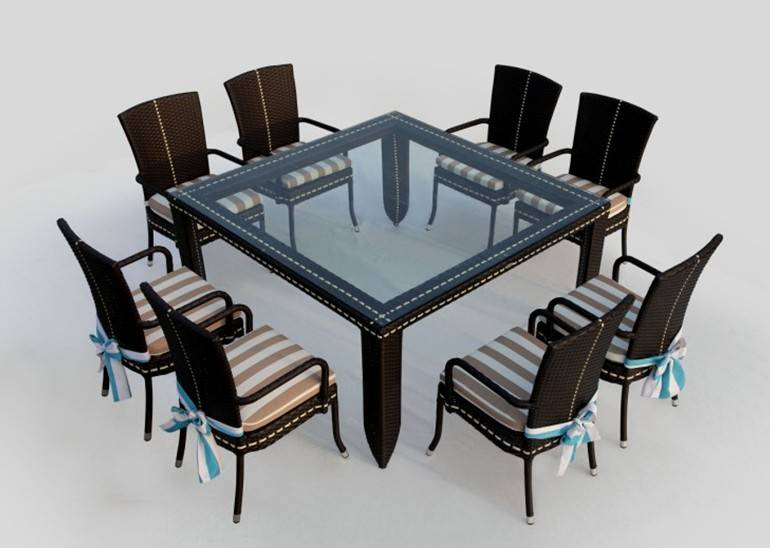 Woven cane dining table chairs sets/coffee tables sets