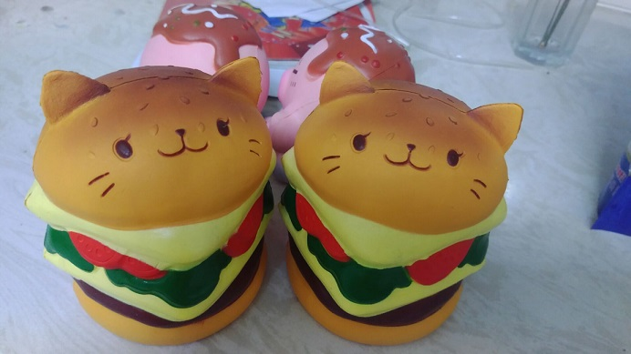 cute and soft slow rising squishy cat burger bread for cellphone