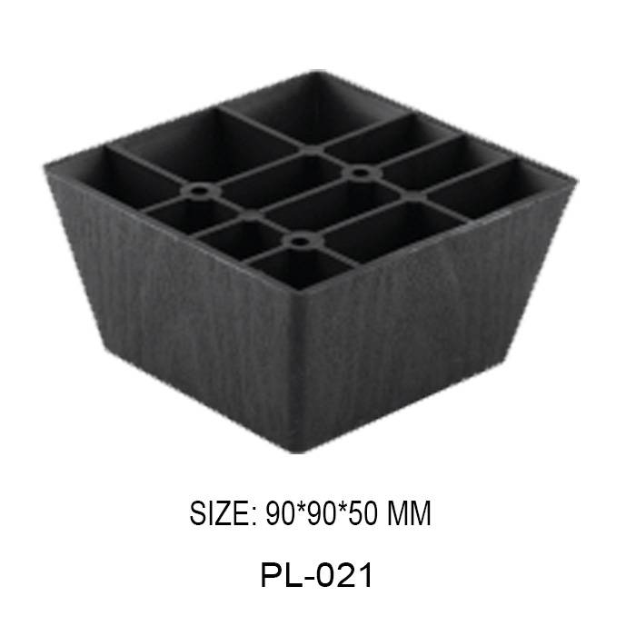 50mm high black furniture leg injection plastic trapezoidal frame sofa leg