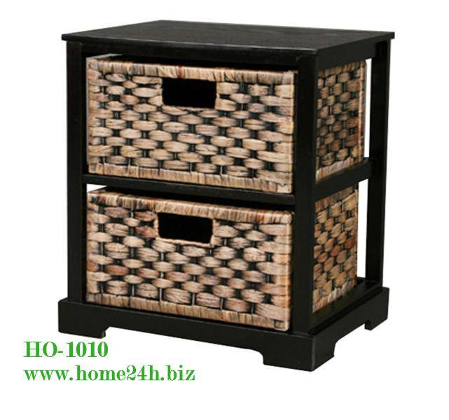 Handmade Water Hyacinth Cabinets 2 drawers