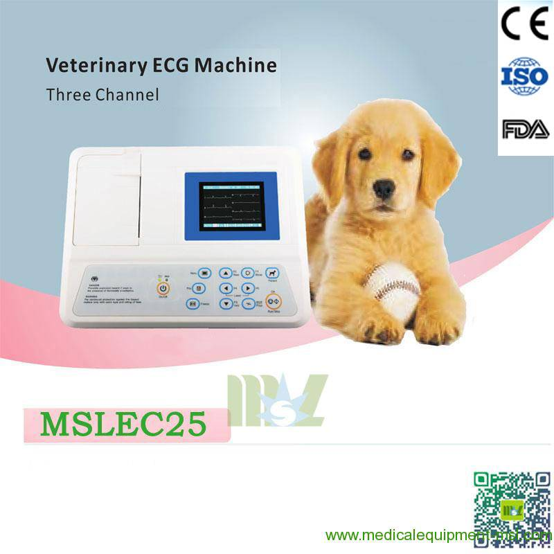 Portable three channel veterinary ecg machine for sale-MSLEC25