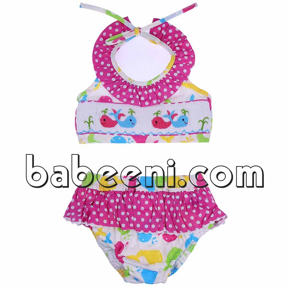 Lovely colorful whale smocked girl swimsuit - BB605