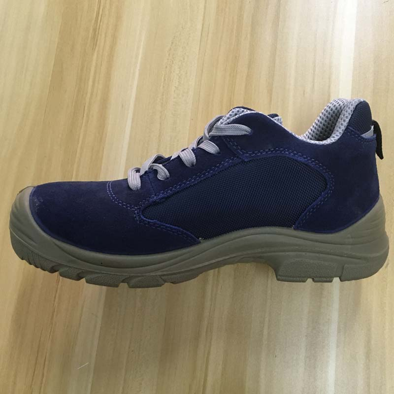deep blue suede leather upper PU sole steel toe safety shoes