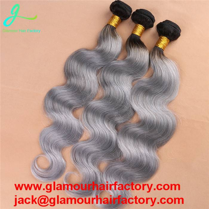 Brazilian Body Wave Ombre Silver Grey 1B/Gray Two Tone Human Hair Extensions