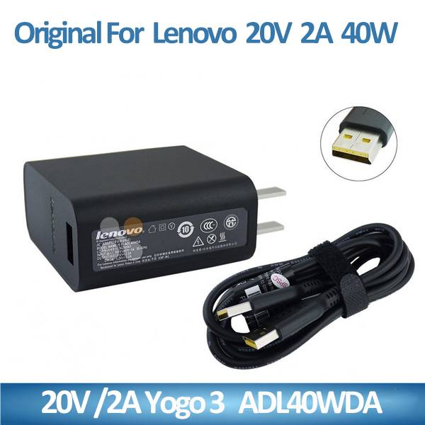 20V 2A for Lenovo 40W Power Adapter Charger for Yoga 3 Pro Convertible Ultrabook Tablet ADL40WDA