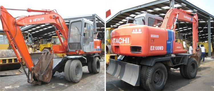Used excavator Hitachi EX100WD, Used Hitachi wheel excavator