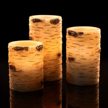 Flameless Candles With The effect Of Birch Bark