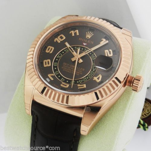 New Rolex Sky-Dweller 326135 Rose Gold Brown Leather