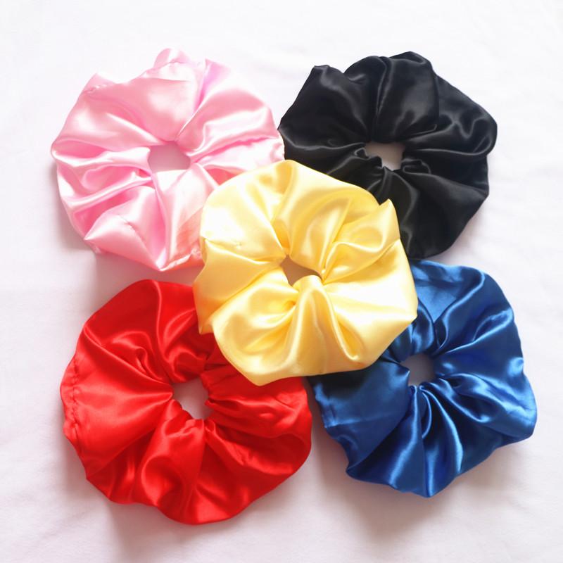 BSCI New Design Cheap Multi Color Plain Satin Silk Hair Super Large Scrunchies