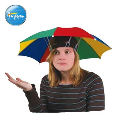 Cheap sun folding logo printed Advertising Head hat shape umbrella, umbrella hat for sale