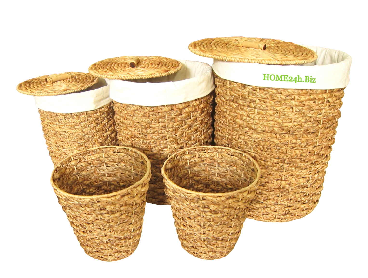 Best selling Water Hyacinth Round Laundry Basket Set s/5 with Bins
