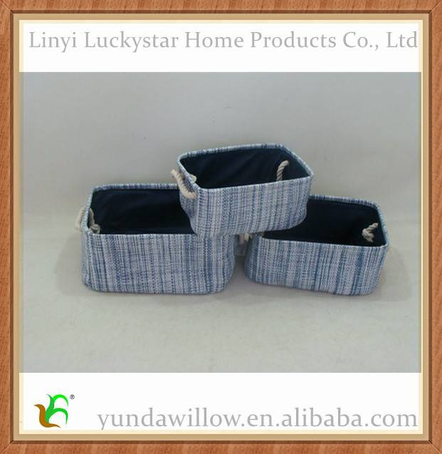 Decorative Colorful Wicker Fabric Storage Basket With Lids