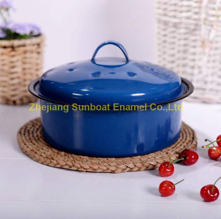 3QT cast iron enamel stock pot