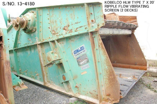 """USED """"KOBELCO"""" HLW TYPE 7' X 20' RIPPLE FLOW VIBRATING SCREEN (2 DECKS) S/NO. 13-4180 WITH MOTOR."""