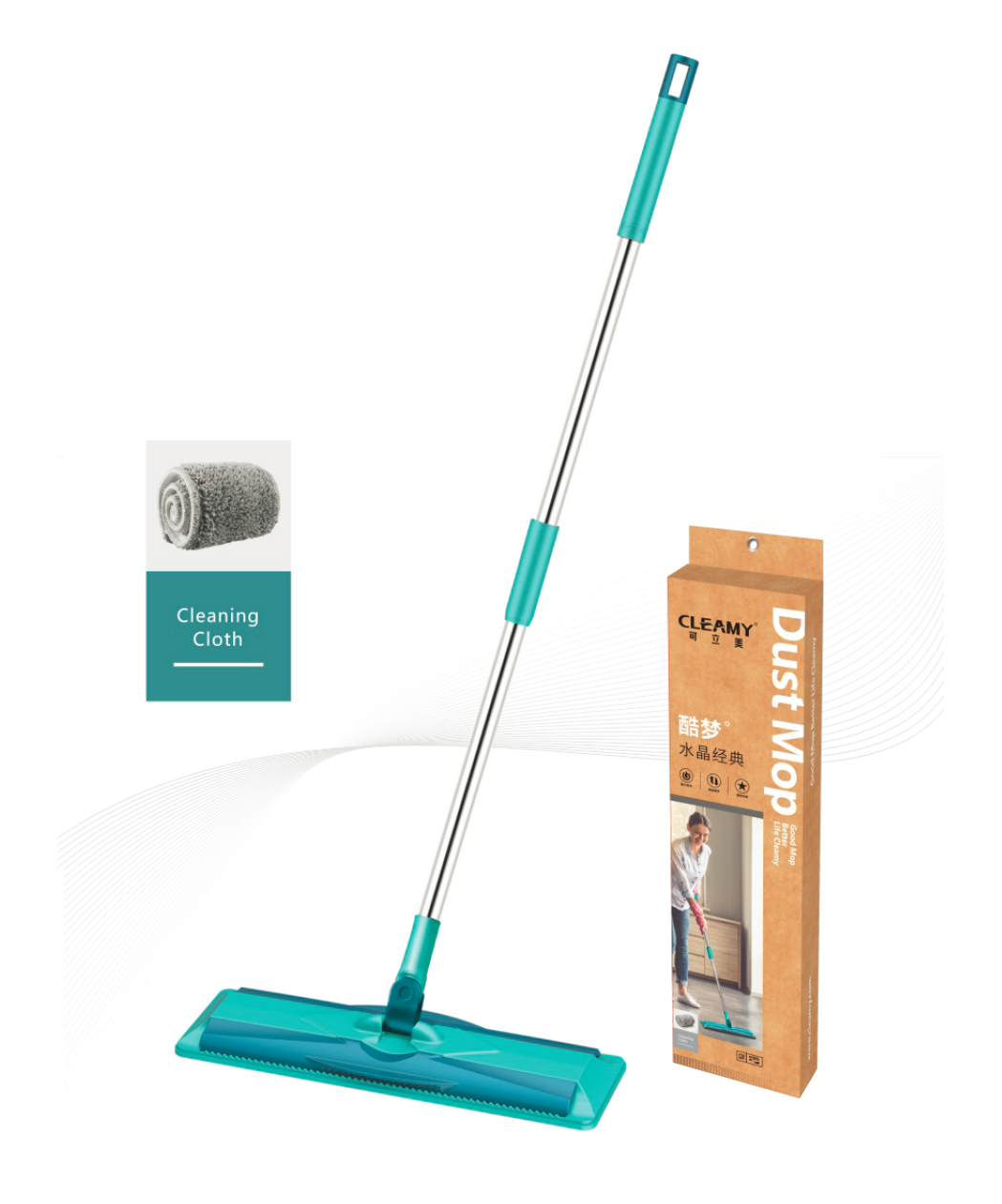 Flat Floor Mop for Home Floor Cleaning, with Reusable Washable Mop Cloth