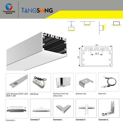 Surface mounting continuous run LED linear luminaire