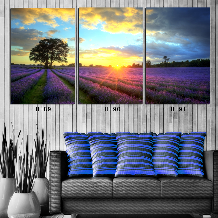 home decor canvas painting 3 panel sunrise on lavender field scenery wall pictures for living room